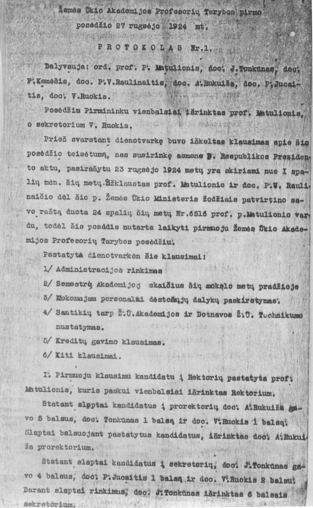 Žemės Ūkio Akademijos Profesoriu Tarybos pirmo posėdžio protokolas Nr.1. (1924 09 27)